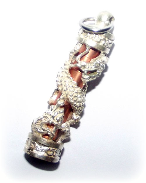 Takrut Mangorn Paya Nakarach - Solid Silver Dragon Frame with Copper Takrut Foil