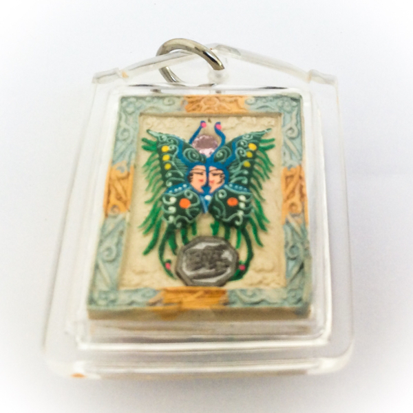 Taep Jamlaeng Butterfly King Amulet pastel blue frame green butterfly king