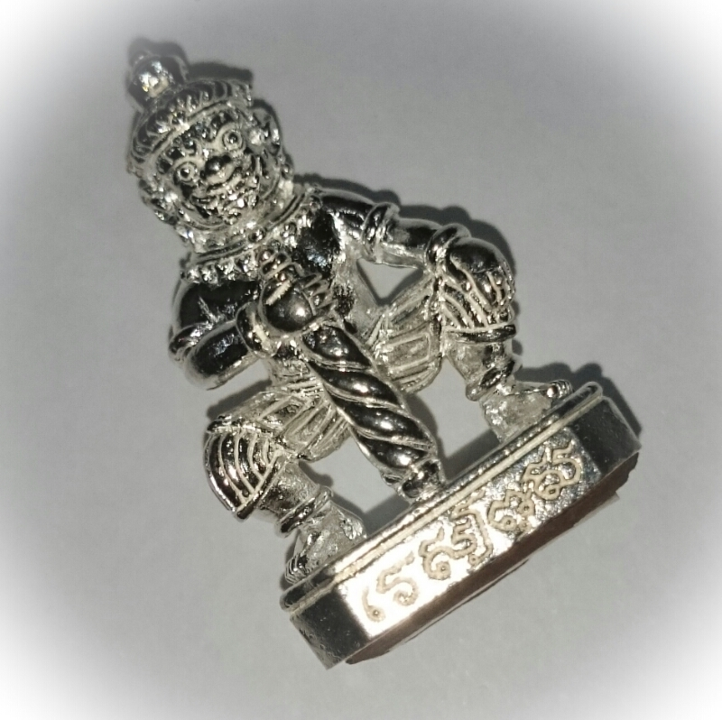 Taw Waes Suwan Asura Deva amulet solid silver with silver Takrut Ta Poon