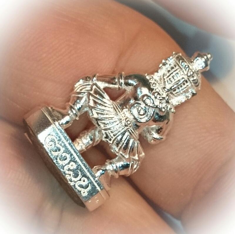 solid silver amulet Taw Waes Suwan Asura Deva by Ta Poon