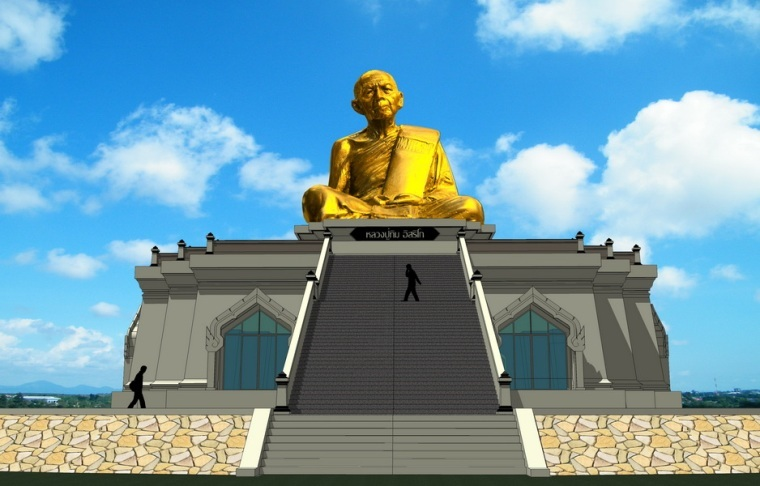 Artists Impression of the Luang Phu Tim Statue as it will look when finished