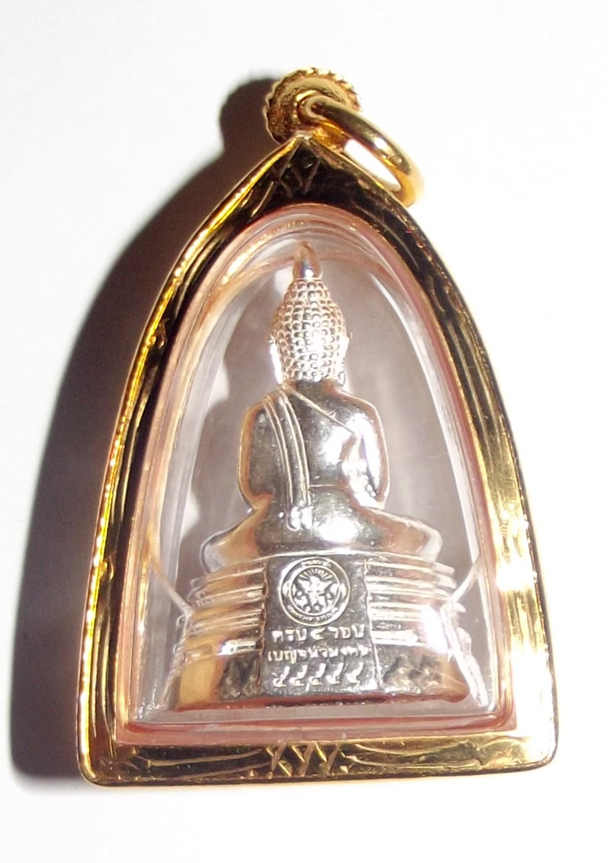 Luang Por Sotorn Statuette amulet in solid silver with solid gold luxury casing