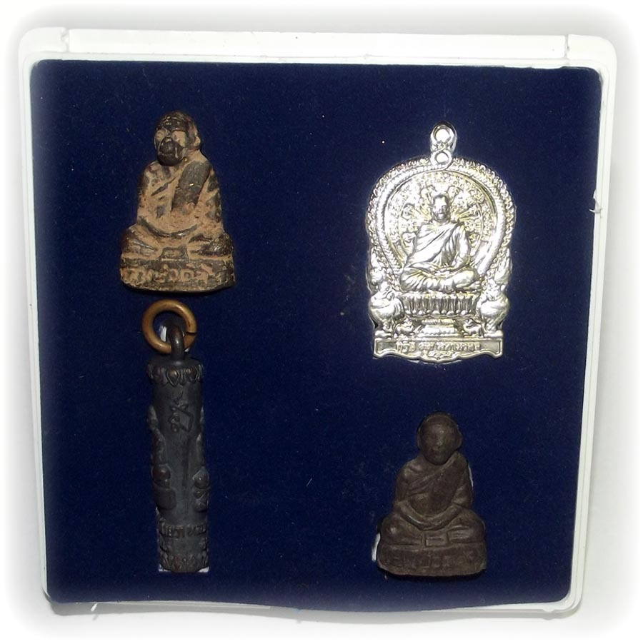Gammagarn Collector's memorial Set of 4 Amulets, in the image of Pra Kroo Pisit Athagarn