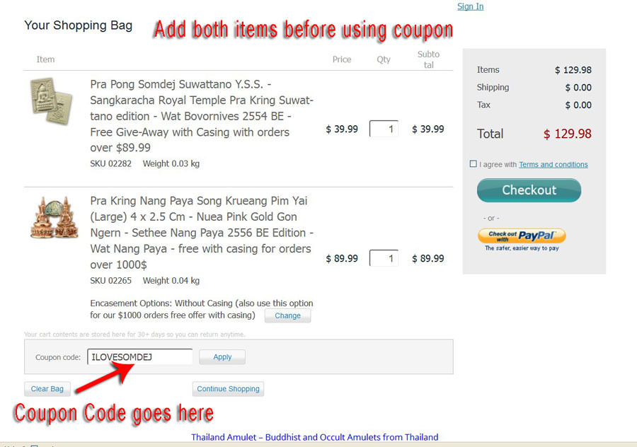picture showing where to place coupon code at checkout