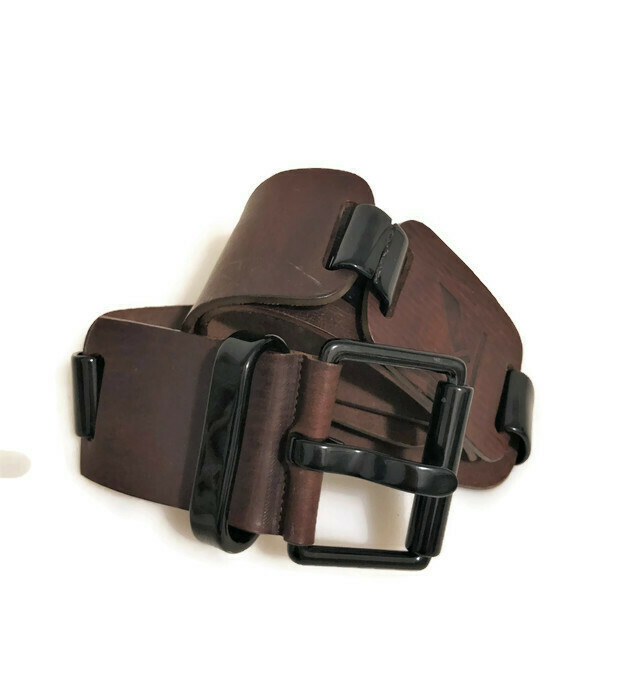 Krizia Leather chain link belt