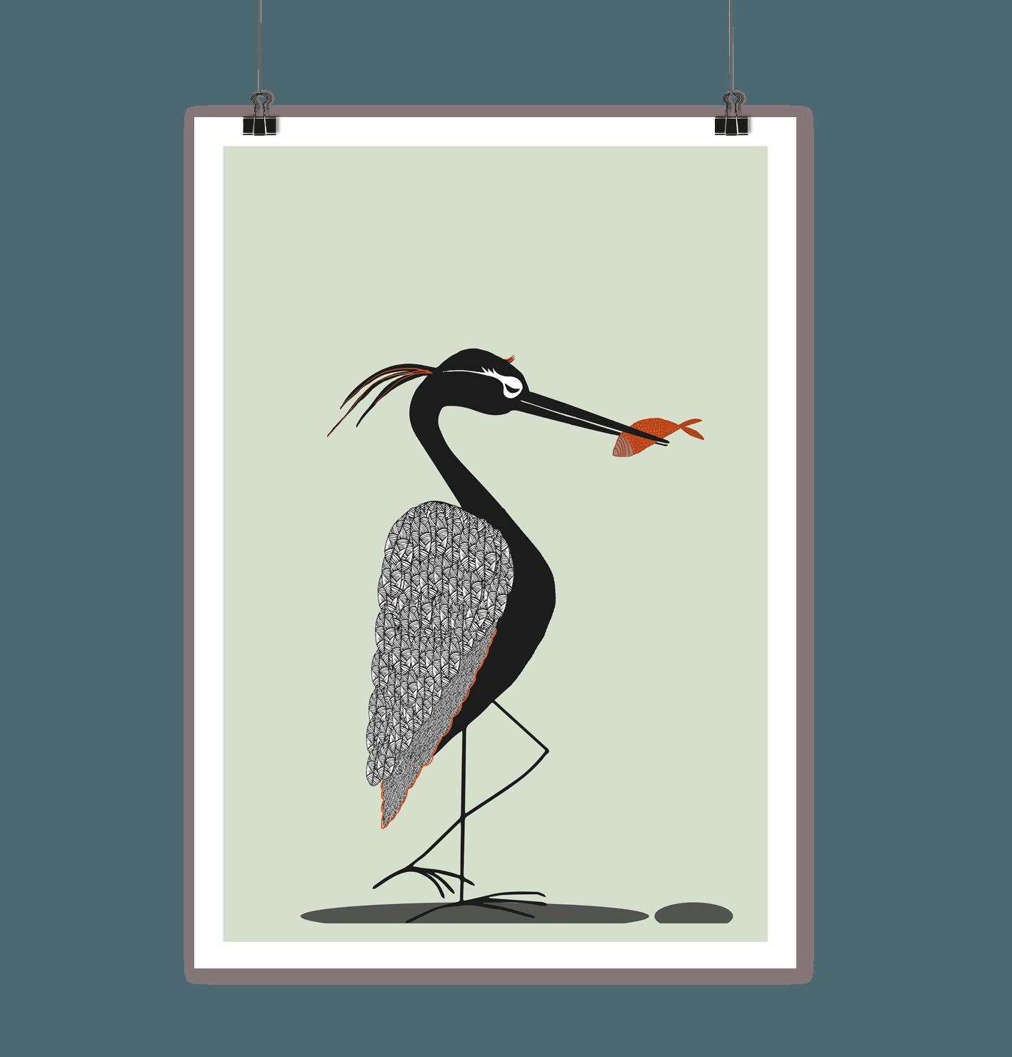 animal print  der fischreiher  din a4
