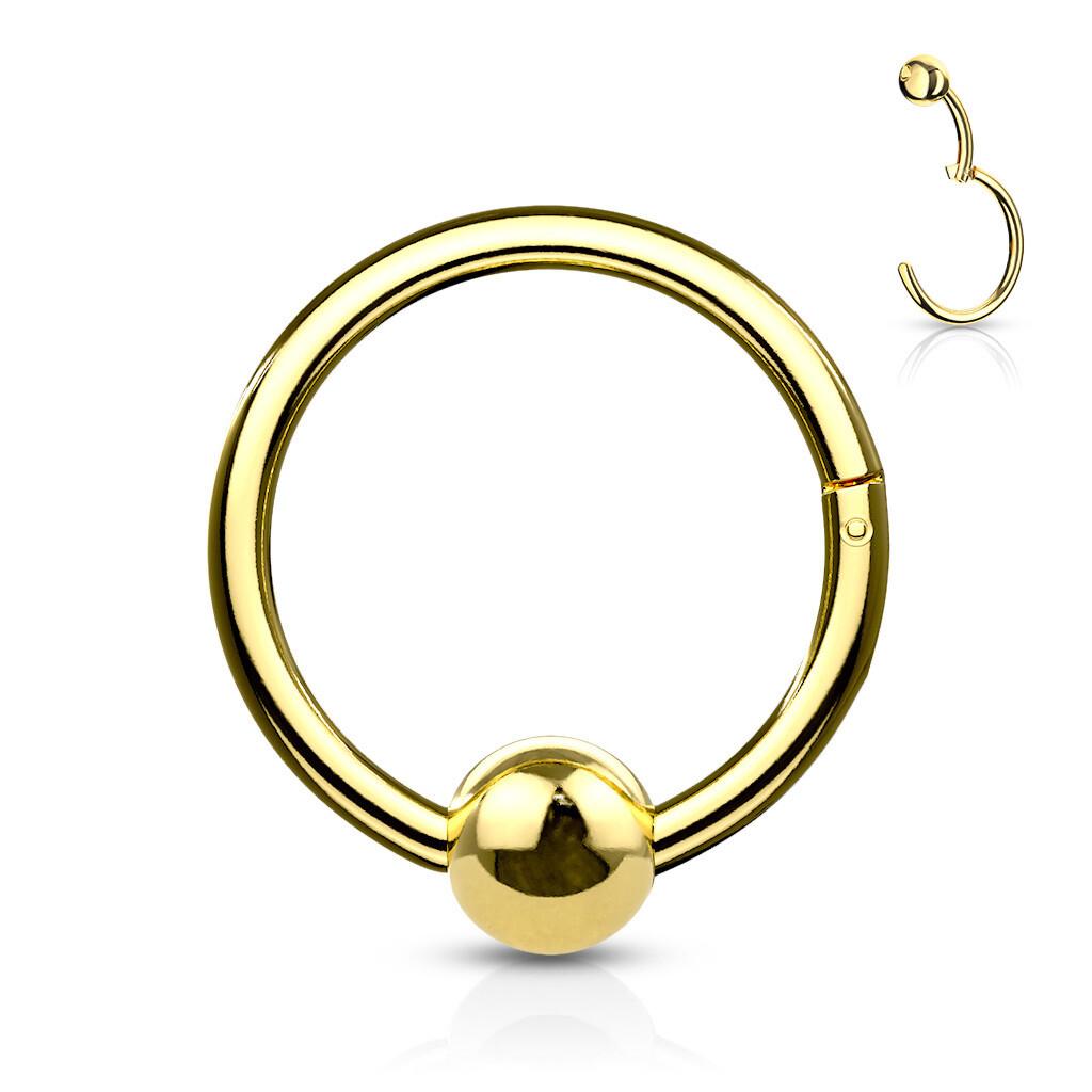 Closure-Ring mit Kugel klappbar vergoldet