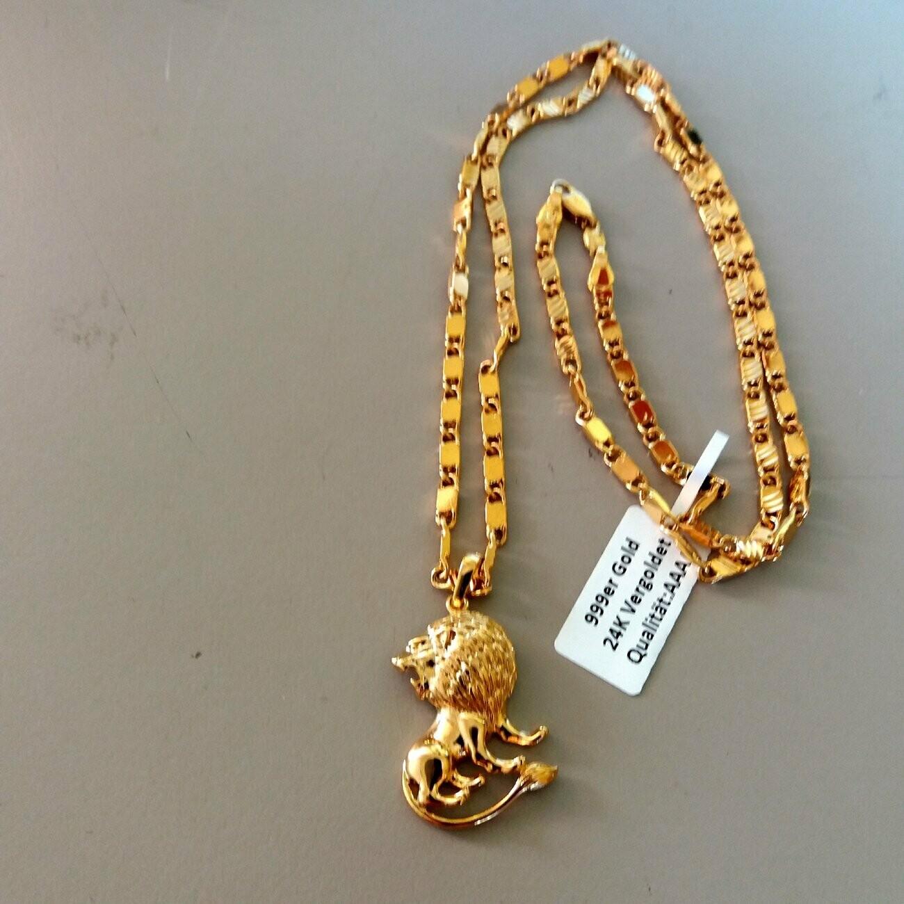 Goldkette mit kleinen Lion Anhänger 24 Karat vergoldet