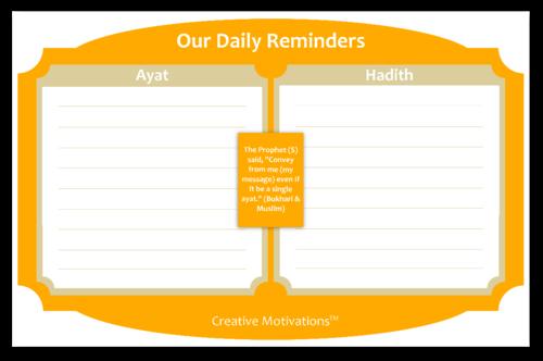 Daily Islamic Reminder Chart
