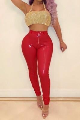 Red bottom Pu pants