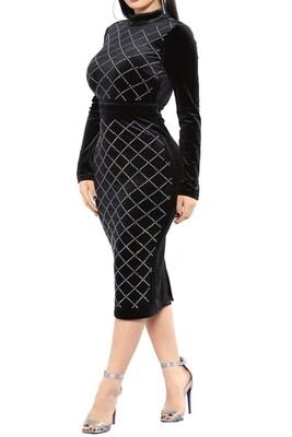 Open back Black Rhistone  velvet long sleeve dress