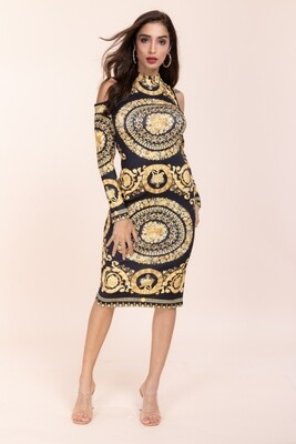 Yonce black n Gold long sleeve dress
