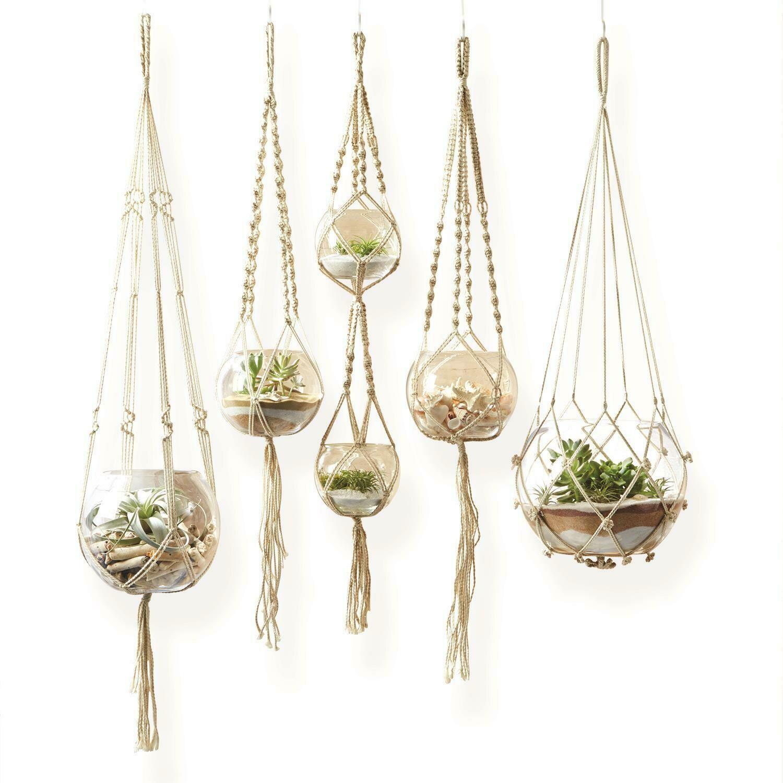 Med Rope Plant Hanger w/Glass