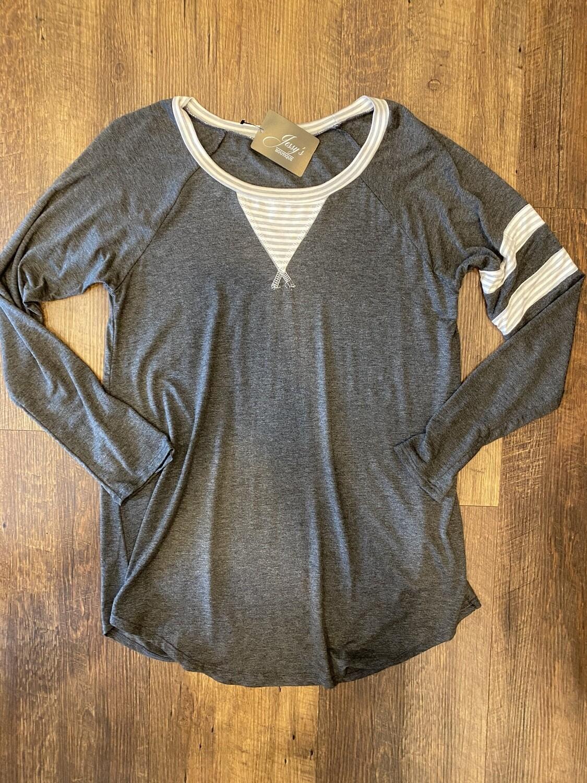 5728 Stripe Sleeve Top