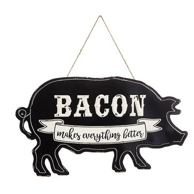 Bacon Makes Everything Better Metal Pig Sign