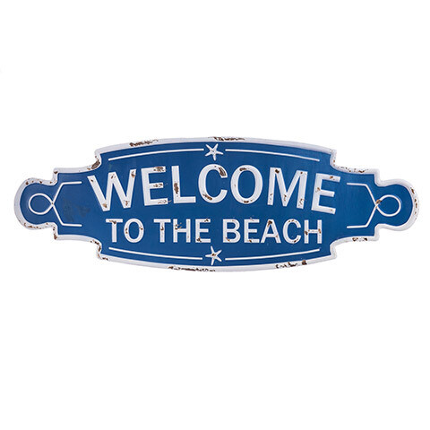Welcome To The Beach Metal Sign