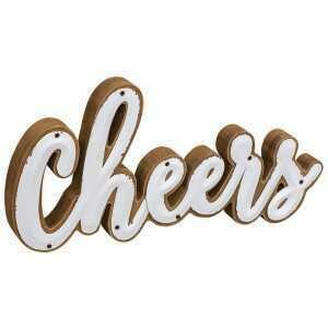 White Enamel Cheers Sign