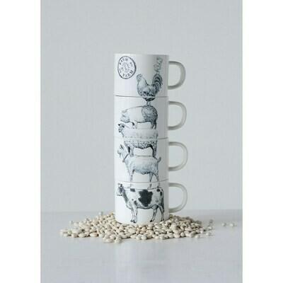 Stoneware Stacked Mugs Farm Animals