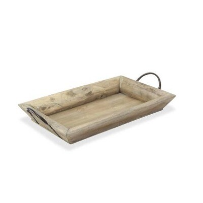 High Sided Handled Wood Tray