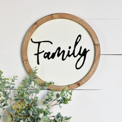 Family Round Wood And White Metal Sign
