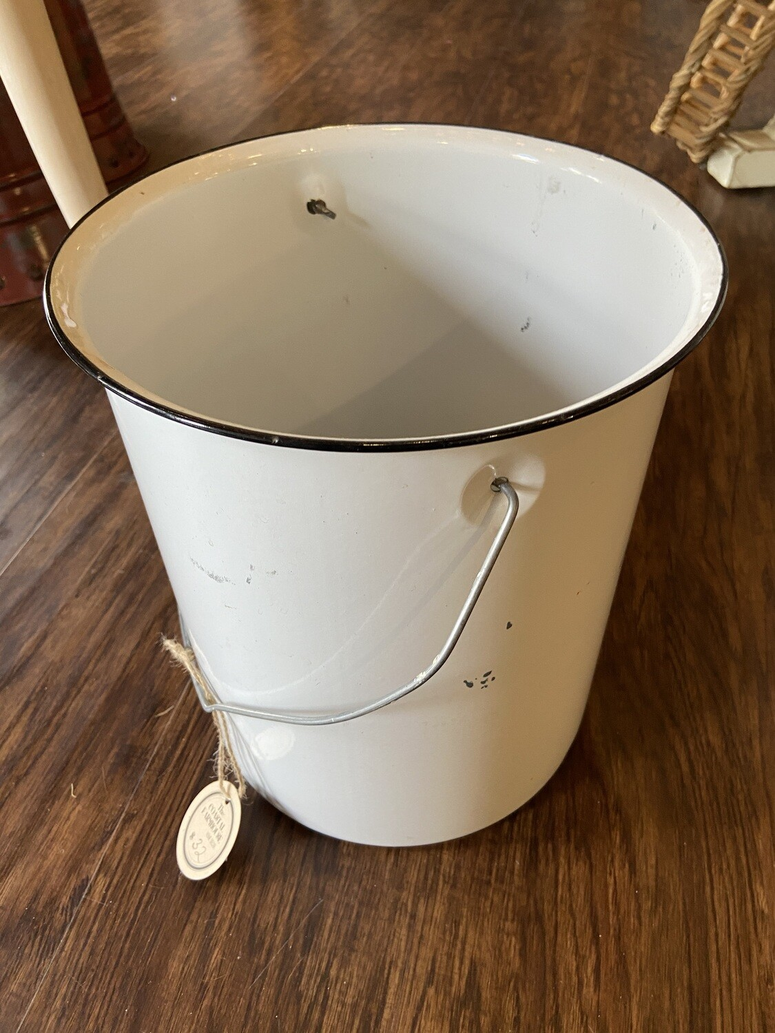 Antique White Enamel Bucket