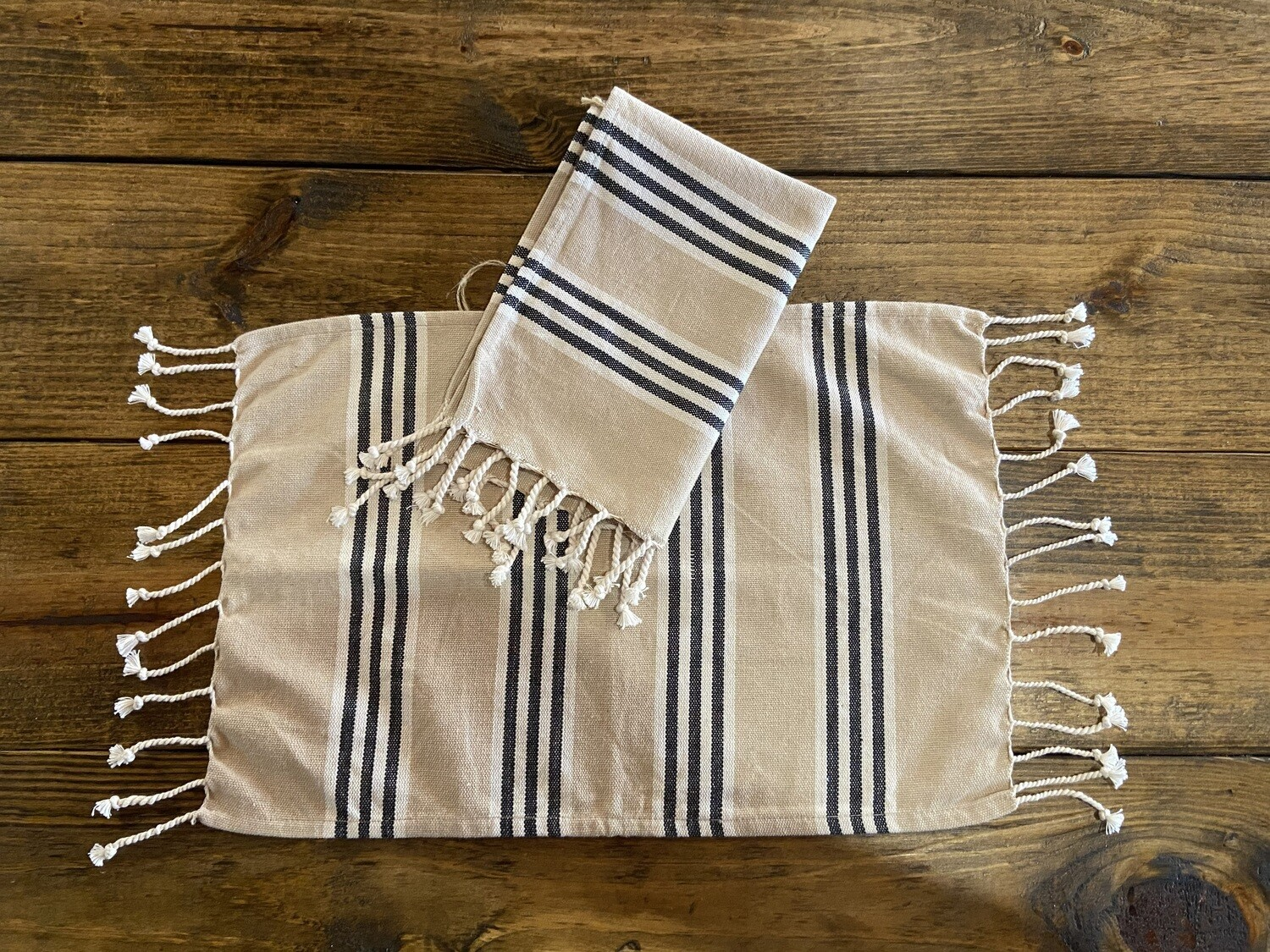 Tan with Black Striped Tassel Place mats