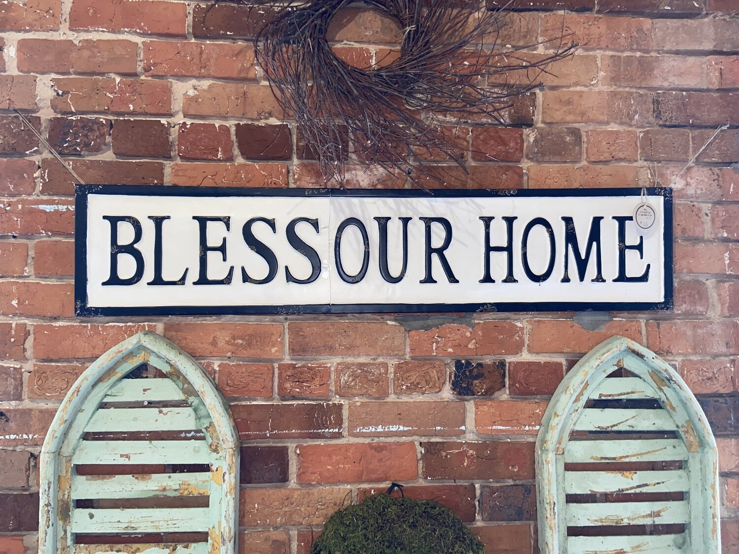 Metal Bless Our Home Sign