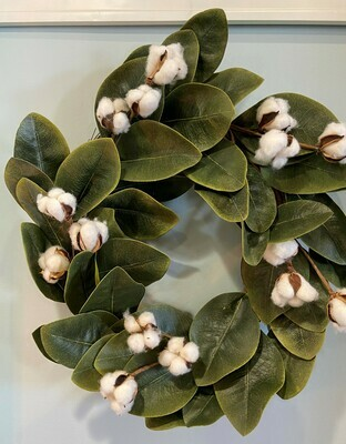 Magnolia & Cotton Wreath