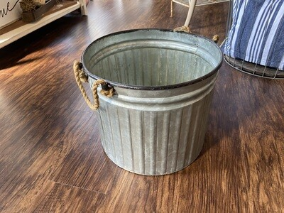 Galvanized Metal Pail With Rope Handles