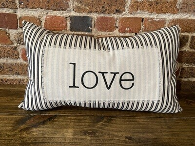Love Striped Rectangle Pillow