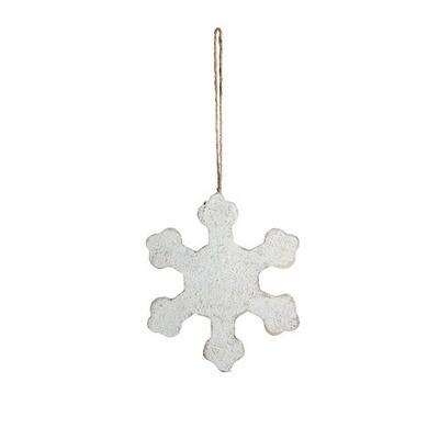 White Wood Snowflake Ornament