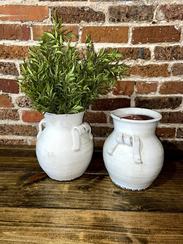 """Cream Pottery Vase 11"""""""