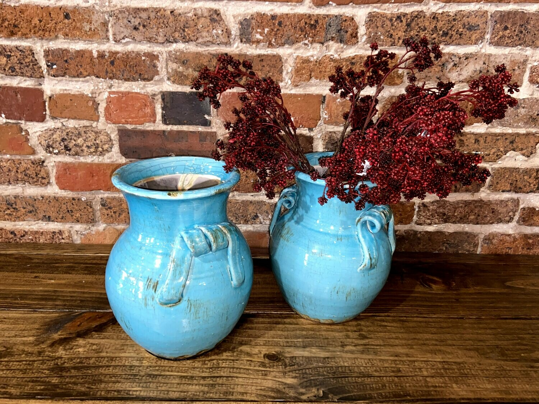 "Teal Pottery Vase 11"""