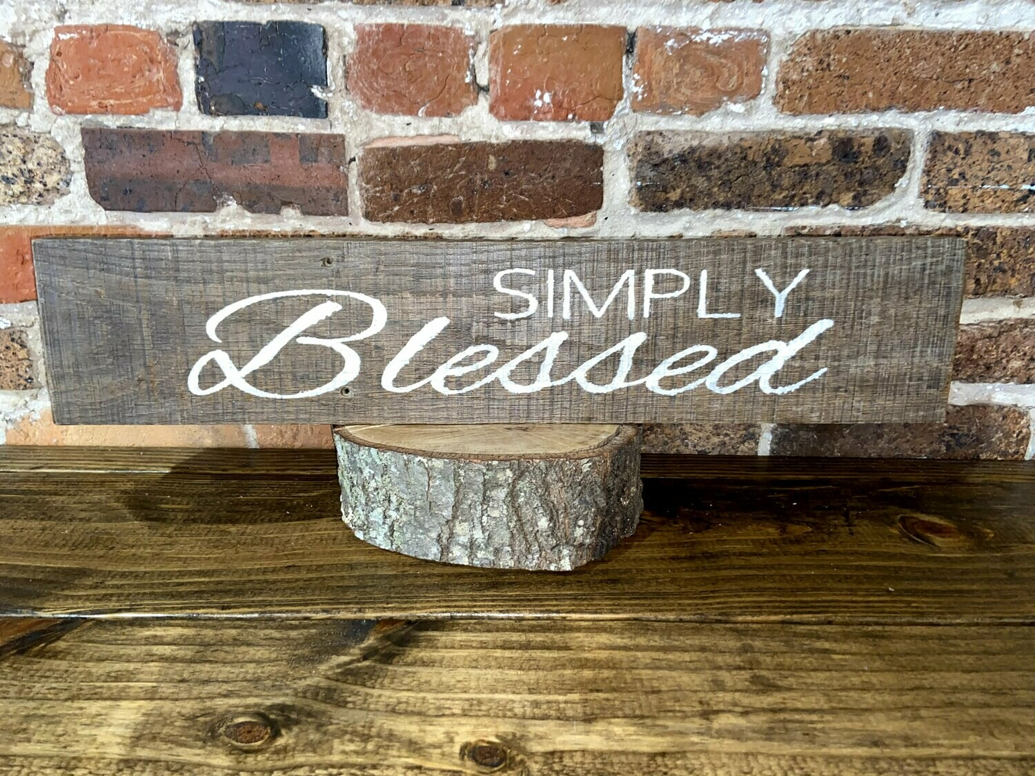 """""""Simply Blessed"""" Barn Wood Sign"""