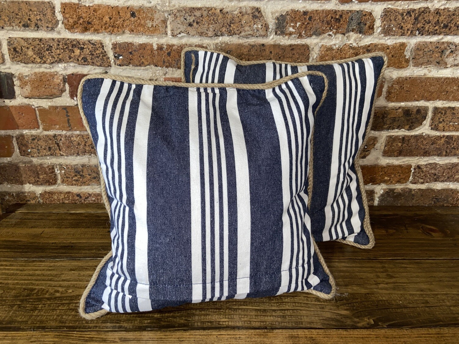 Blue Striped Rope Pillow