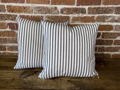 Black Ticking Striped Pillow