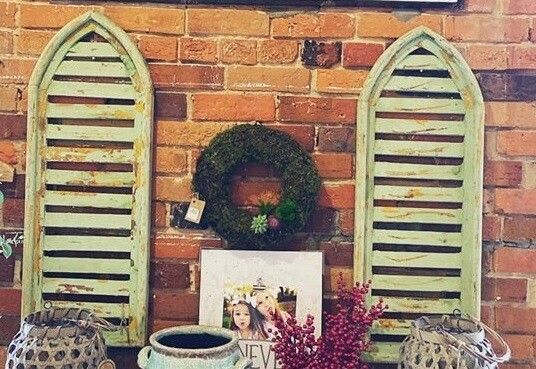 Green Arched Chippy Shutter