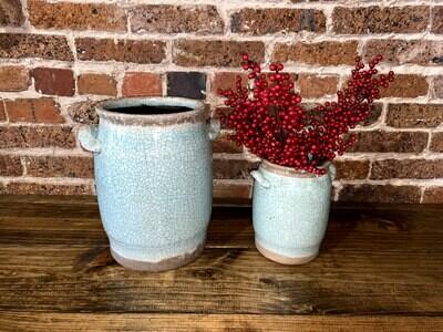 Teal Crackle Vase