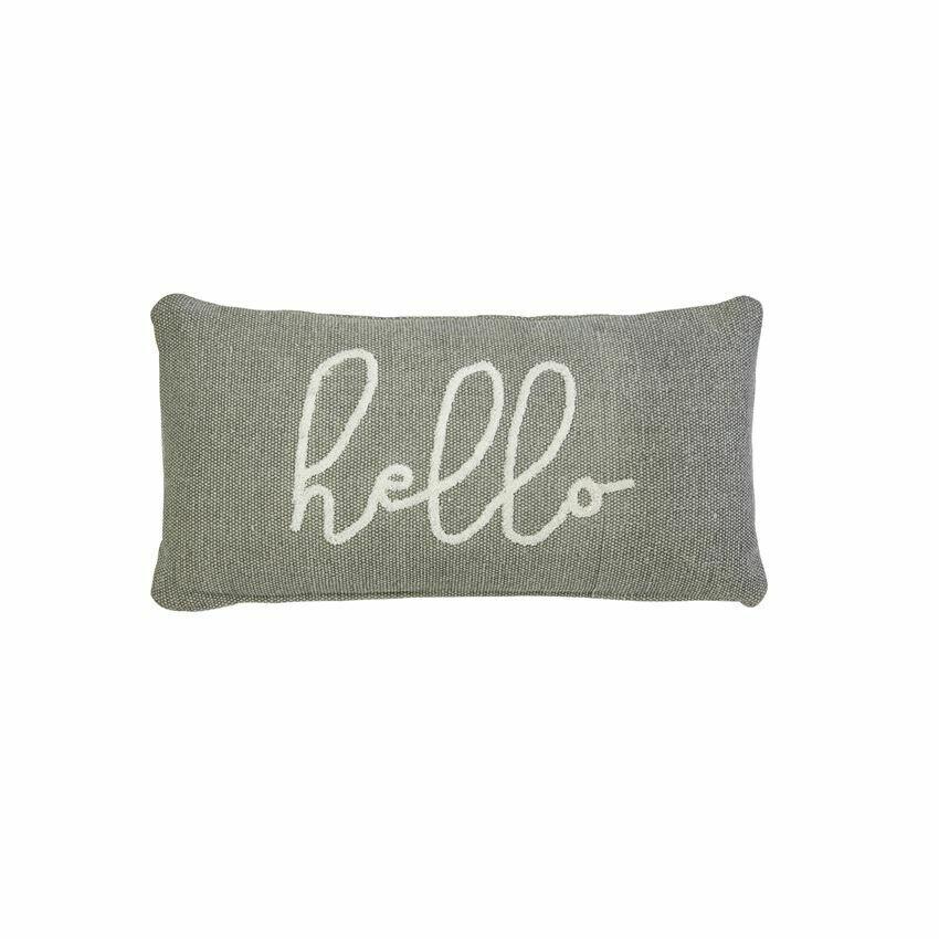 Cursive Hello Gray Pillow