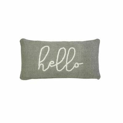 Cursive Hello Gray Pillow