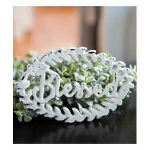 White Blessed Iron Wreath Sign