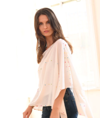 NSC7016  Sprinkle Cashmere Poncho/Scarf White