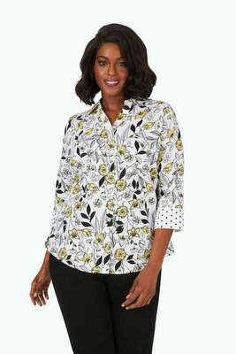 190283 Mary Plus Wrinkle-Free Floral Toile Shirt