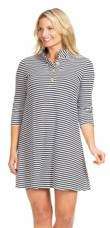 Kingsley Dress Navy and White Stripe