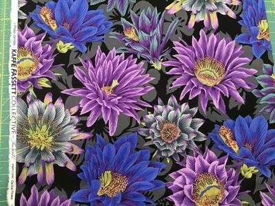 Kaffe Cactus Flower black 1/2 yard