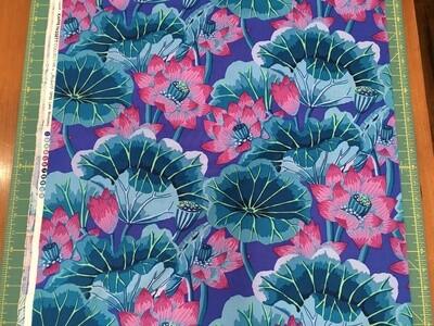 Kaffe Lake Blossoms blue 1/2 yd