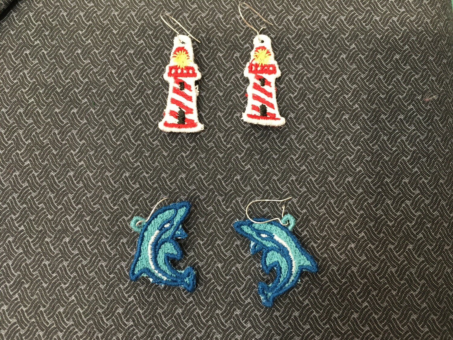 Earrings embroidered