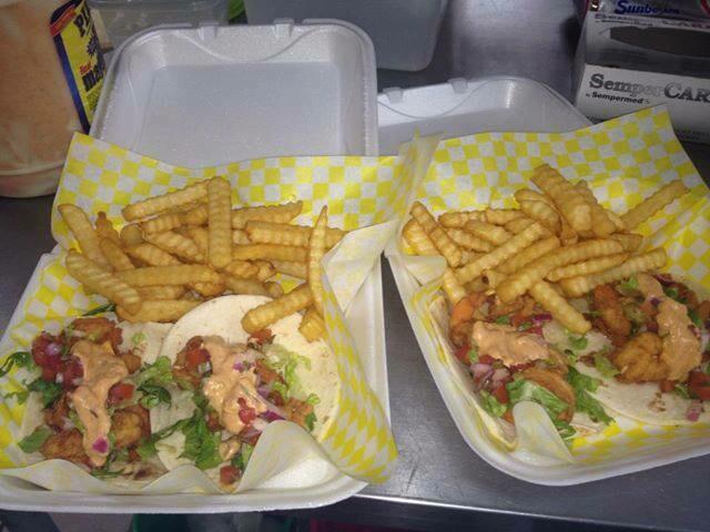 2 Shrimp Tacos Basket - w/ fries