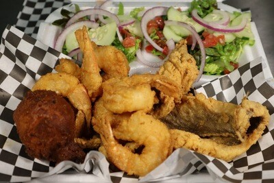6pc Shrimp/2pc Fish Sampler w/Fritter