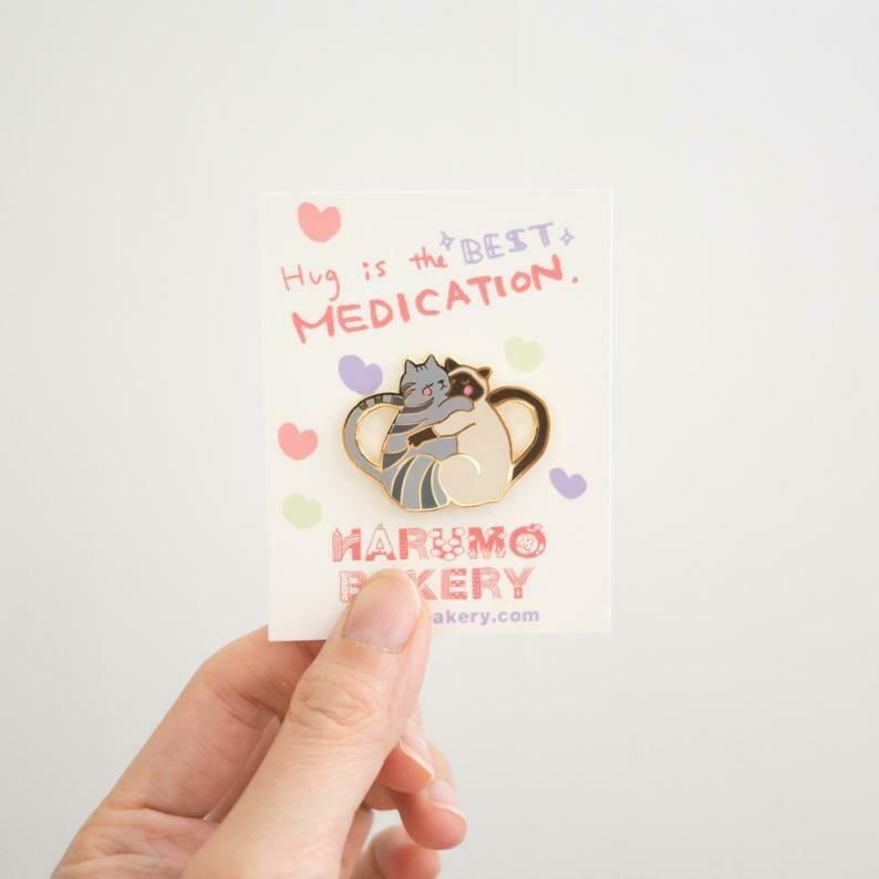 Hug Cats Enamel Pin, Grey & Cream